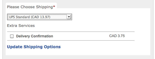 UPS Shipping dropdown