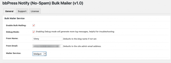 Bulk Mailer General Settings